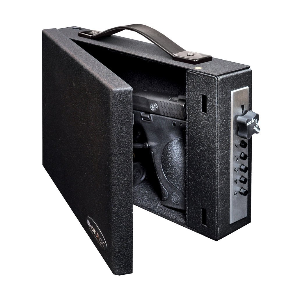 this portrait of the SHOT LOCK 1911 Full Handgun Solo-Vault Safe shows its locking mechanism