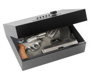 picture of the V-Line Top Draw Security Case with a revolver and a pistol inside it