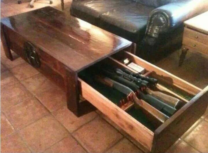 image showing an ordinary coffee table with a concealed gun safe - Gun Safe Coffee Table Guide €� DIY Vs Buying - Gun Safe Champ