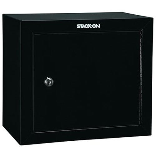 the Stack-On GCB-500 Steel Pistol/Ammo Cabinet displayed in its full glory. One of the best handgun safes for the money