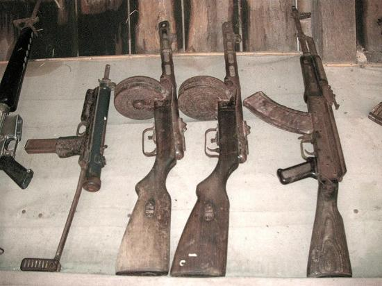 rusted rifles in full display
