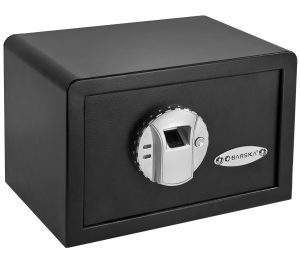 Image of the Barska Mini Biometric Gun Safe- a great option if you are looking for the best gun safe with fingerprint access for your home or office