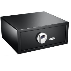 the BARSKA Biometric Safe is illustrated here. a great horizontal gun safe