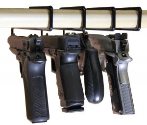 image of our number one gun safe pistol rack. USA GunClub Easy Use Gun Hanger Pack of 4 Original Handgun Hangers