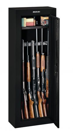 image showing rifles packed in the Stack-On GCB-908 8-Gun Steel Security Cabinet