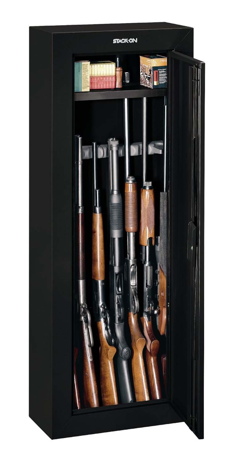 pic showing rifles packed in the Stack-On GCB-908 8-Gun Steel Security Cabinet
