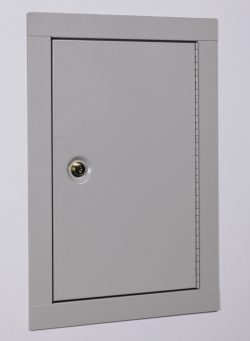 Stack-On IWC-22 In-Wall Cabinet showing its distinct white color