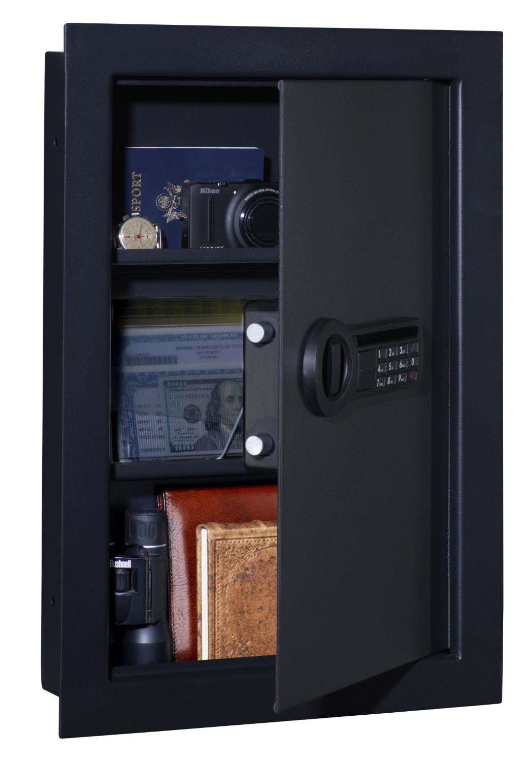 Stack-on wall safe with electronic lock pictured here. one of the best wall safes for guns