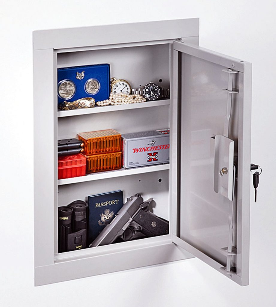 sample wall safes for gun picture showing pistols, ammo and other valuables