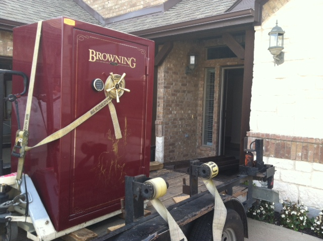 Browning model being transported with gun safe moving equipment
