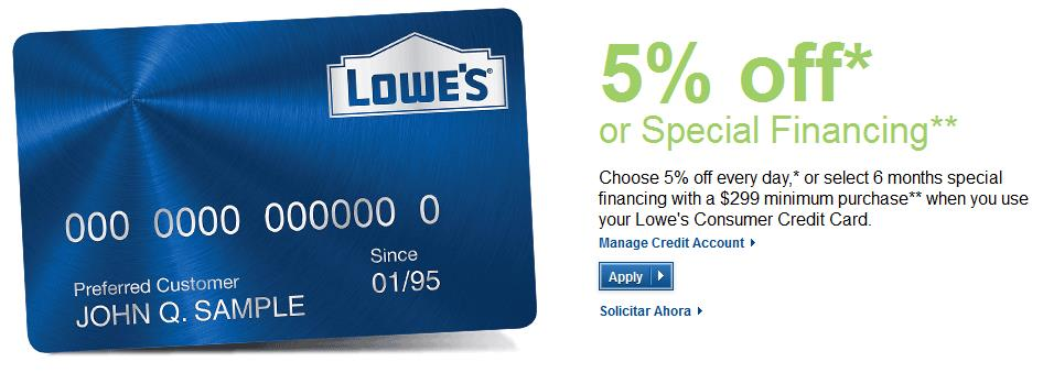 image showing the lowe's credit card.