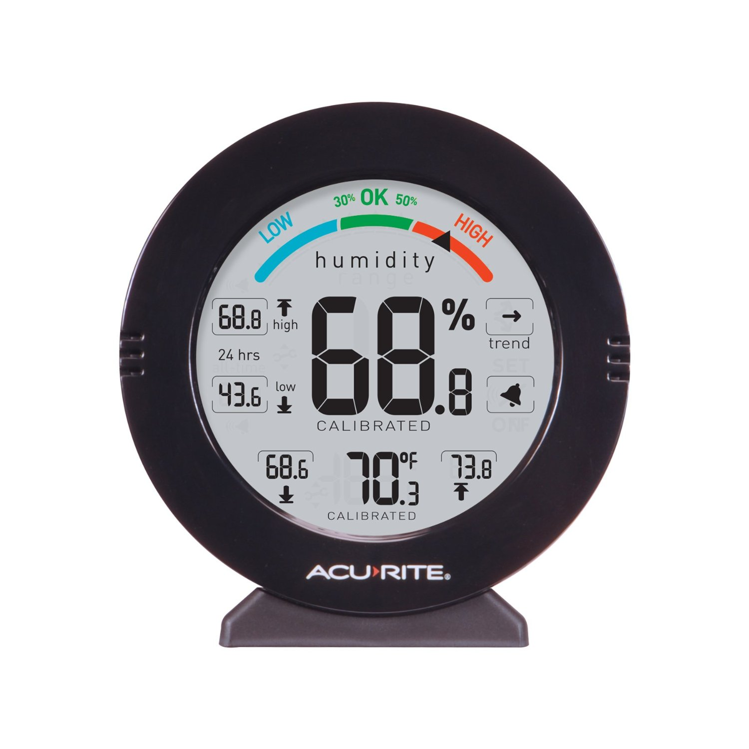 noticed how the AcuRite 01080M Pro Accuracy Temperature & Humidity Monitor with Alarms displays its readings?
