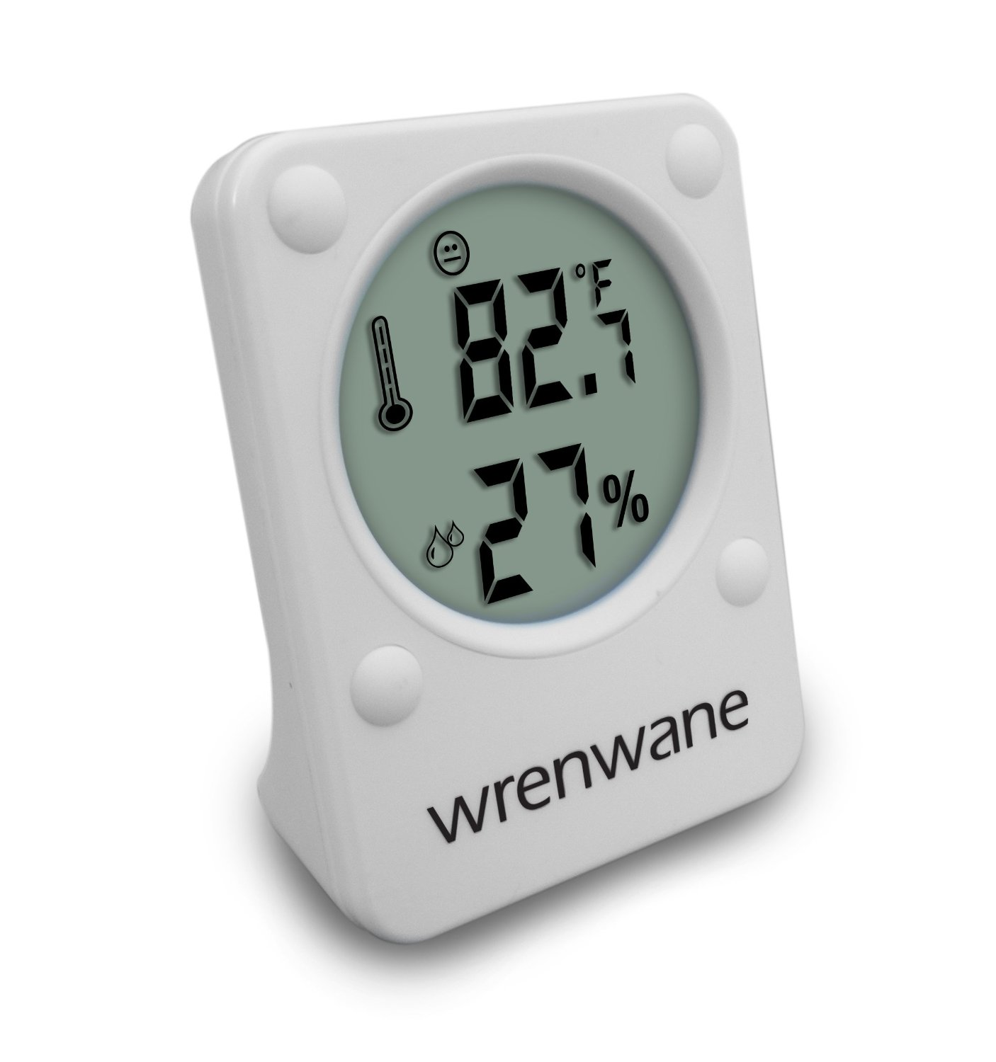 the Wrenwane Hygrometer Humidity Monitor Indoor Room Thermometer Fahrenheit Or Celsius White pictured is the best gun safe hygrometer