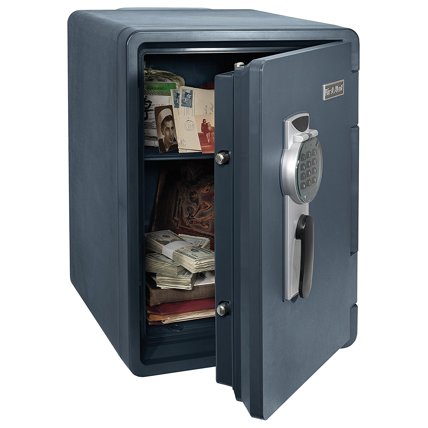 the First Alert 2096DF Waterproof Fire Safe with Digital Lock opened