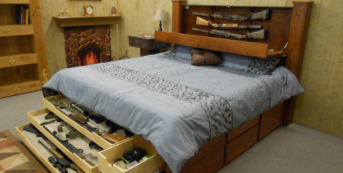 bed with hidden compartments in the headboard and other areas for gun hiding