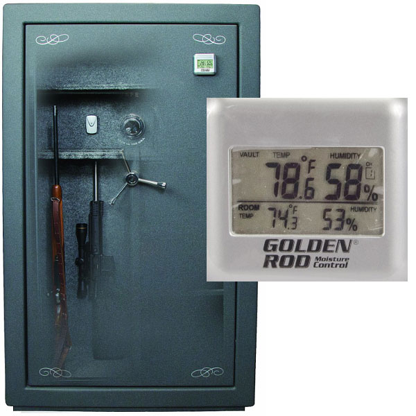 hygrometer mounted in a large gun safe